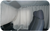 curtains in the truck cab